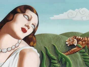 Art Deco style mural on canvas